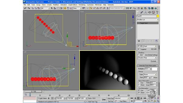 Applying and adjusting attenuation: 3ds Max 2009 Beyond the Basics