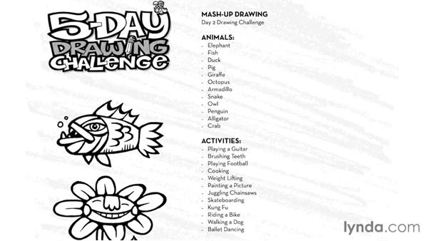 Day 2 challenge: Mash-up drawing: 5-Day Drawing Challenge: Drawing Your Own Reality