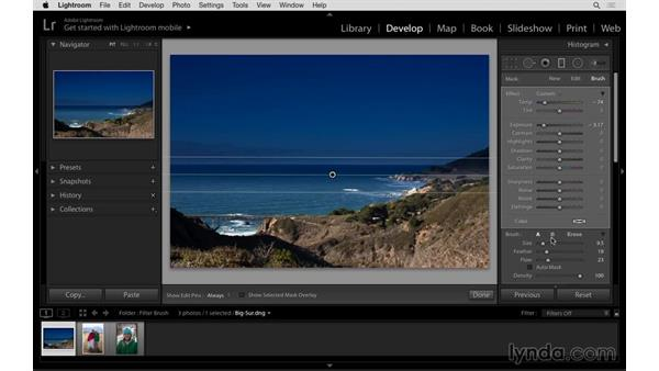 Using the Graduated Filter Brush to improve a landscape: Lightroom: 2015 Creative Cloud Updates