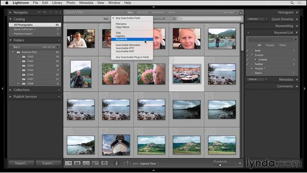 Finding photos by keywords: Up and Running with Lightroom 6 and Lightroom CC