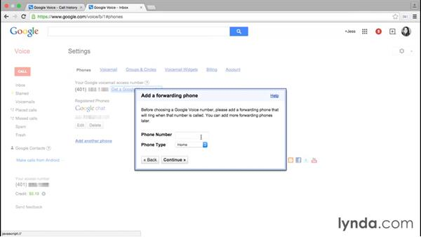 Getting a Google Voice number: Google Voice Essential Training