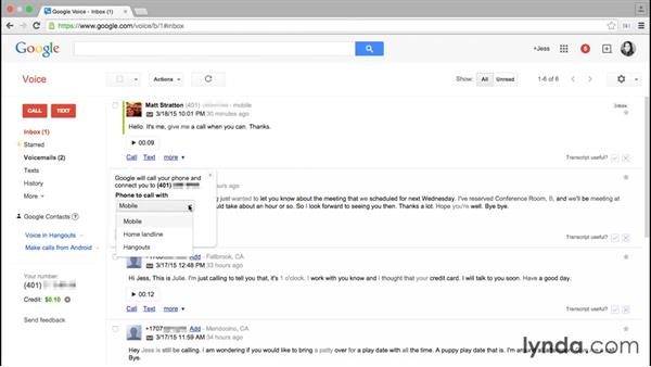 Responding to voicemails: Google Voice Essential Training