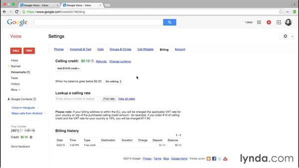 Adding credits for calls: Google Voice Essential Training