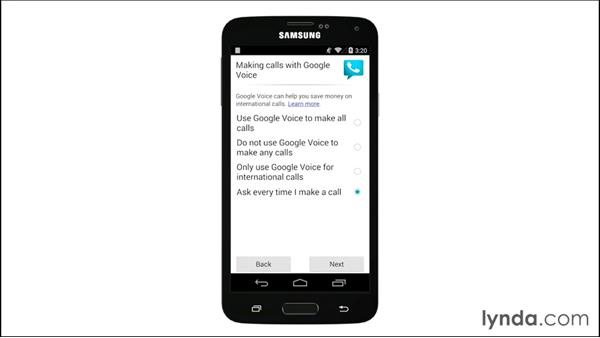 Setting up Google Voice with your Android phone: Google Voice Essential Training