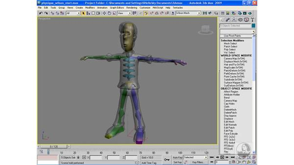 Applying a physique modifier: 3ds Max 2009 Beyond the Basics