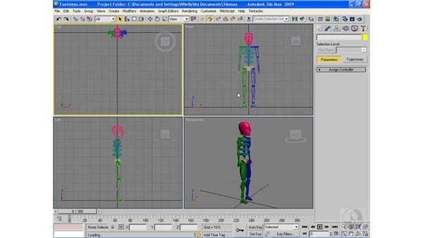 Creating and editing footsteps: 3ds Max 2009 Beyond the Basics