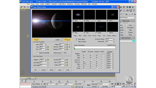 Using lens flares: 3ds Max 2009 Beyond the Basics