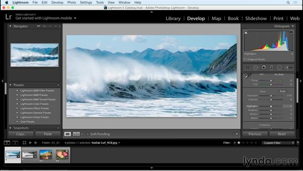 Essential tools: The Histogram and Info tools: Creating Black-and-White Landscape Photos with Lightroom