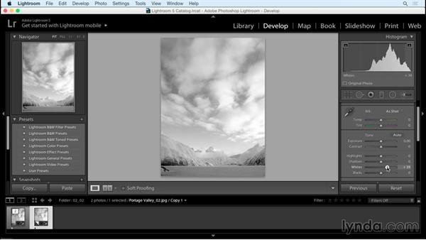 Measuring and adjusting highlight and shadow values: Creating Black-and-White Landscape Photos with Lightroom