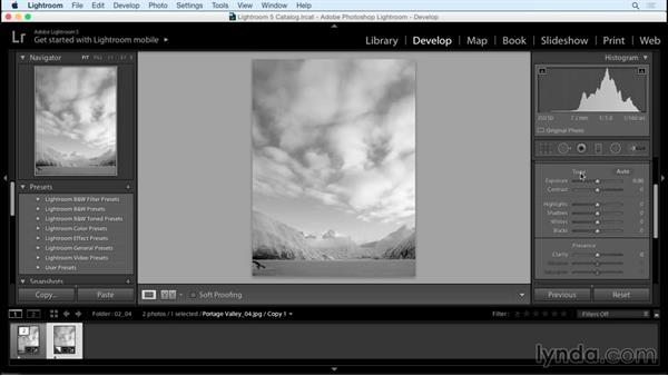 Convenient Develop module shortcuts for adjusting images: Creating Black-and-White Landscape Photos with Lightroom