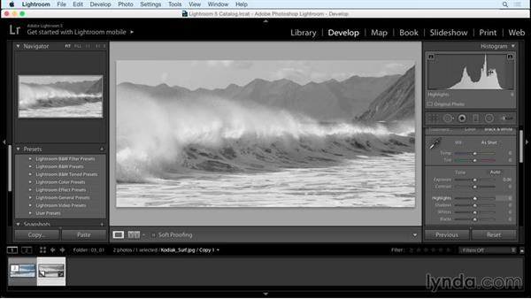 Improving the contrast: Creating Black-and-White Landscape Photos with Lightroom