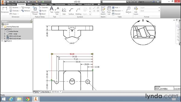 Adding dimensions to a drawing: Migrating from AutoCAD to Inventor
