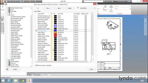 Modifying the drawing layer styles: Migrating from AutoCAD to Inventor