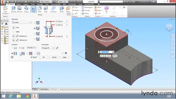 Enhancing the model with common features: Migrating from AutoCAD to Inventor