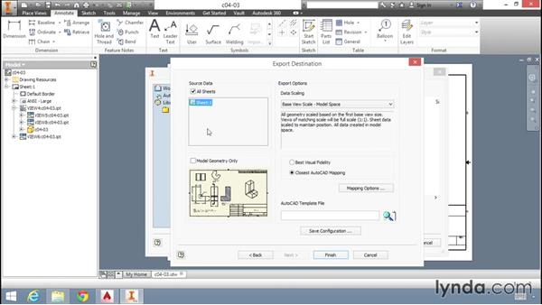 Exporting drawings for use with AutoCAD: Migrating from AutoCAD to Inventor