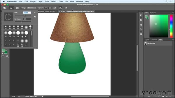 Detailing the body of the lamp: Creating Commercial Illustrations