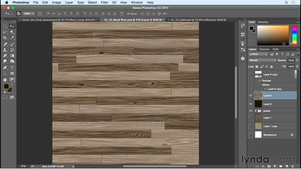 Creating the reflections on the wood floor: Creating Commercial Illustrations