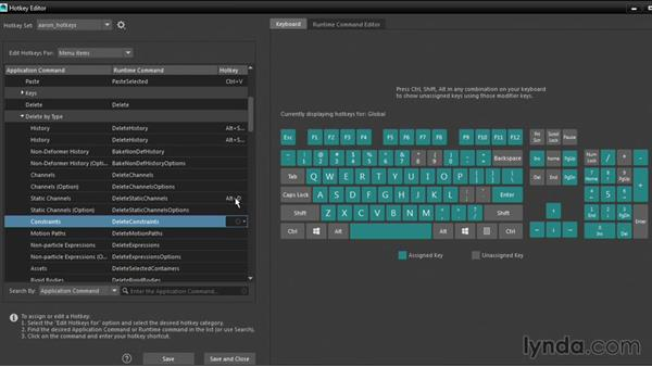 Assigning shortcuts in the Hotkey Editor: Maya 2016 New Features