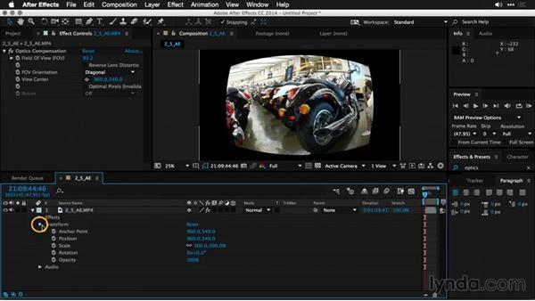 Correcting lens distortion in After Effects