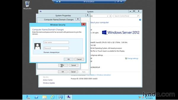 Joining the SharePoint SQL machine to the domain: SharePoint 2013 Installing and Configuring a Test Environment