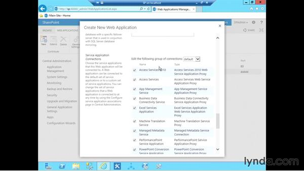 Create a web application: SharePoint 2013 Installing and Configuring a Test Environment