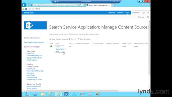 Configuring search: SharePoint 2013 Installing and Configuring a Test Environment