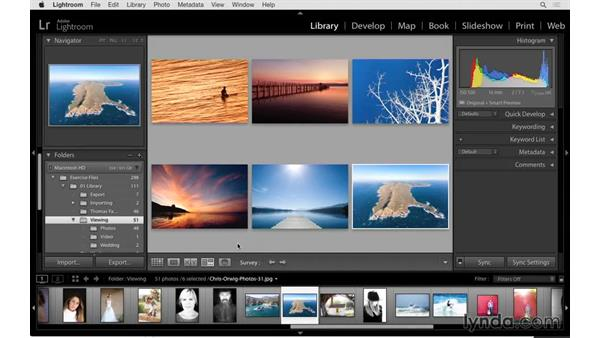 Viewing multiple images at once with Survey mode: Lightroom 6 Essential Training