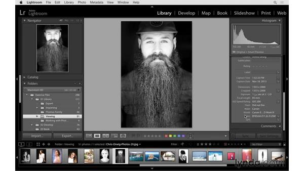 Working with the Metadata panel and filtering: Lightroom 6 Essential Training
