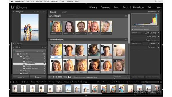 Using face tags for people photographs: Lightroom 6 Essential Training