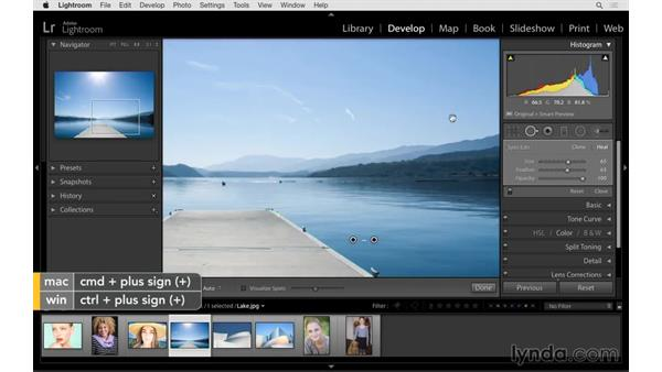 Retouching away linear objects: Lightroom 6 Essential Training