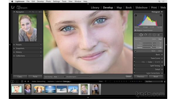 Reducing shadows under the eyes: Lightroom 6 Essential Training