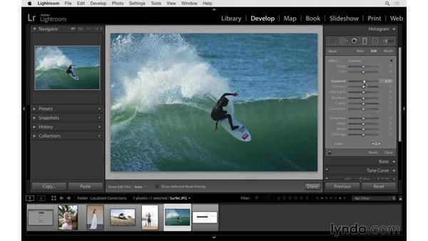 Making gradual adjustments with the Graduated Filter: Lightroom 6 Essential Training