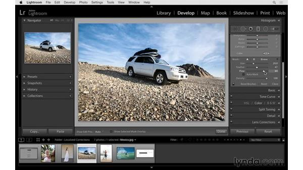Using the Graduated Filter Brush tool: Lightroom 6 Essential Training