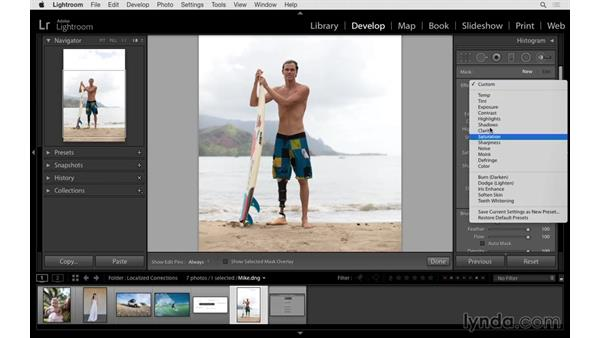 Painting in corrections with the Adjustment Brush: Lightroom 6 Essential Training