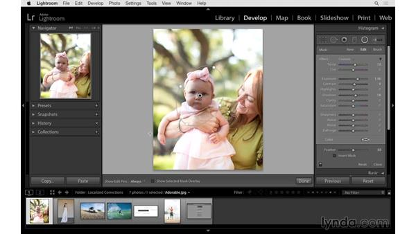Using the Radial Filter tool to improve brightness: Lightroom 6 Essential Training