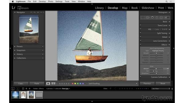 Creating a unique look with the film grain controls: Lightroom 6 Essential Training