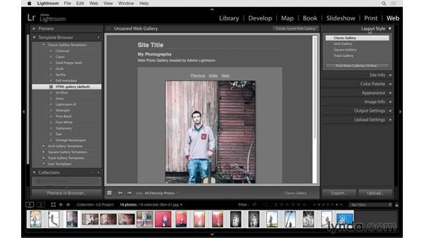 Creating a collection and selecting a template: Lightroom 6 Essential Training