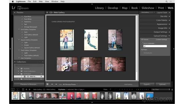 Uploading the gallery to the internet: Lightroom 6 Essential Training