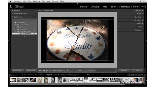 Using slideshow templates and customizing the layout: Lightroom 6 Essential Training