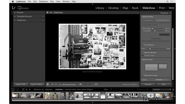 Playback options and adding music: Lightroom 6 Essential Training
