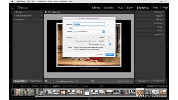 Playing and exporting the slideshow: Lightroom 6 Essential Training