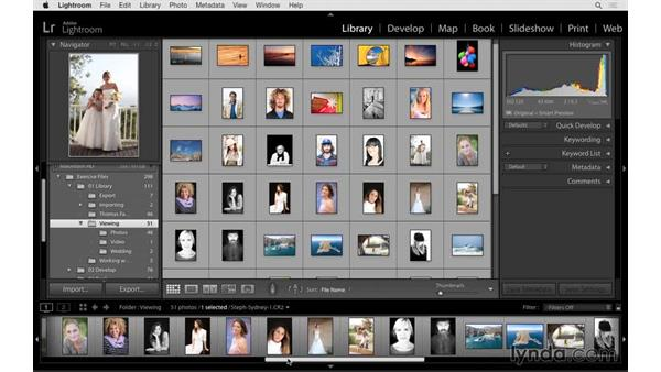 Viewing your photos with the Grid and Loupe views: Lightroom CC Essential Training (2015)
