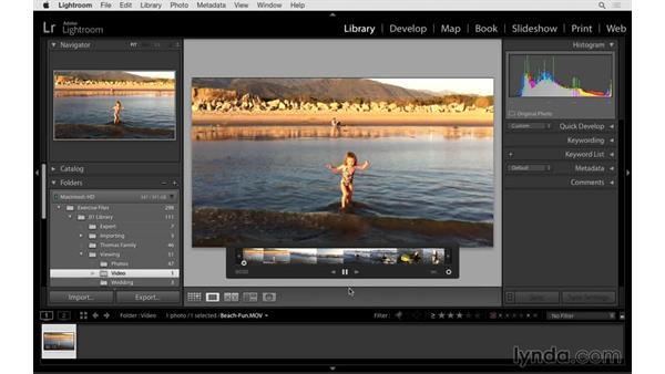 Viewing video files: Lightroom CC Essential Training (2015)