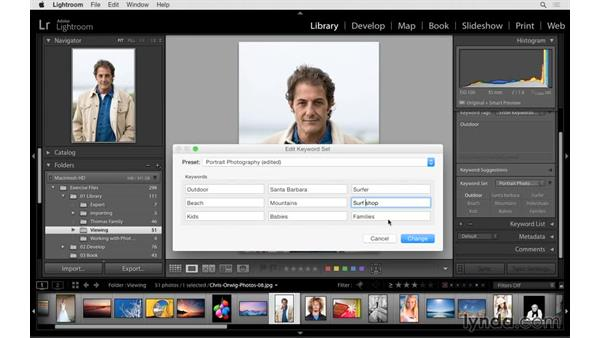 Creating and using keyword sets: Lightroom CC Essential Training (2015)