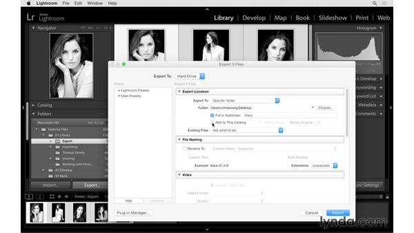 Exporting photographs to a hard drive, CD, or DVD: Lightroom CC Essential Training (2015)