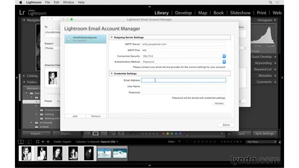 Emailing photographs from Lightroom