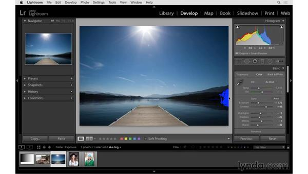 Viewing before and after previews and clipping indicators: Lightroom CC Essential Training (2015)