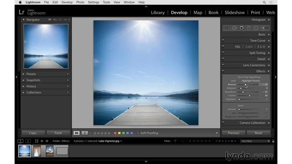 Adding or removing lens vignetting: Lightroom CC Essential Training (2015)
