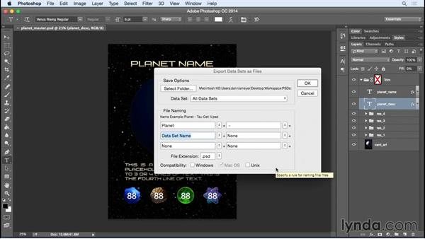 Exporting your data sets: Photoshop Variables: Game Production Art