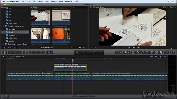 Adding video B-roll: Final Cut Pro X 10.2 Essential Training